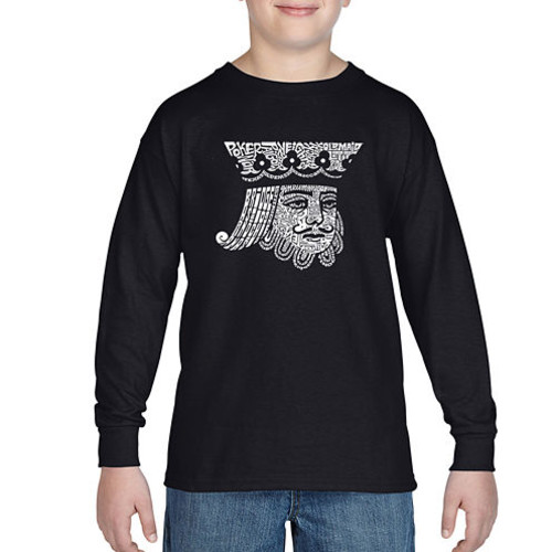 Los Angeles Pop Art Created Out Of Popular Card Games Long Sleeve Boys Word Art T-Shirt