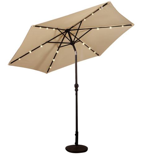 9FT Patio Solar Umbrella LED Patio Market Steel Tilt W/ Crank Outdoor Beige