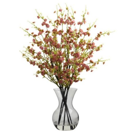 Nearly Natural Cherry Blossoms with Vase Arrangement