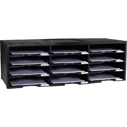 Storex 12-Compartment Literature Organizer/Document Sorter, Black (61602U01C)