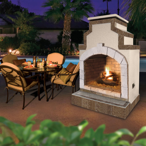 Cal Flame 48 in. Propane Gas Outdoor Fireplace in Porcelain Tile