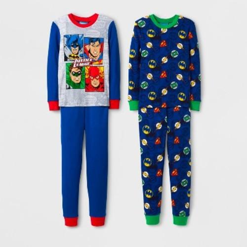 Justice League Boys' 4 Piece Cotton Pajama Set - Blue