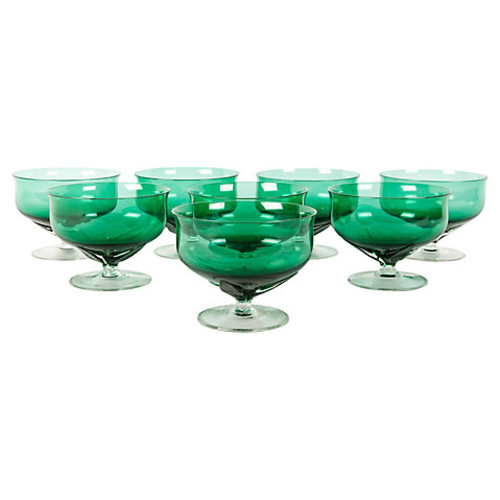 Vintage Green Crystal Coupes, S/8