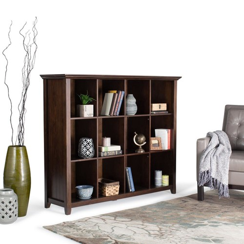Simpli Home Acadian Tobacco Brown Open Bookcase