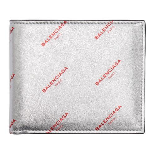 BALENCIAGA Silver All Over Logo Bifold Wallet