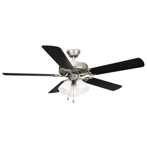 Design House 153957 Millbridge 52-Inch 3-Light 5-Blade Ceiling Fan, Black or Light Maple Blades, Satin Nickel Finish