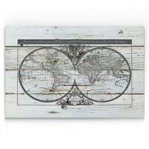 Williston Forge 'World Map Hemispheres' Painting Print on Wrapped Canvas; 32'' H x 48'' W