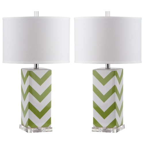 Set of Two Chevron Stripe Table Lamps in Green design by Safavieh