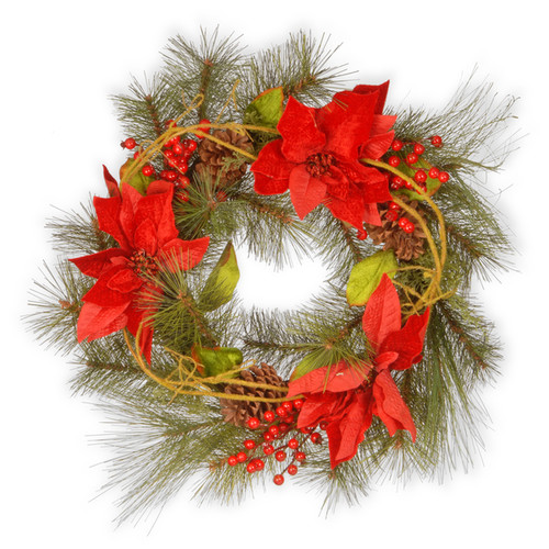 Red Poinsettia 24-inch Wreath