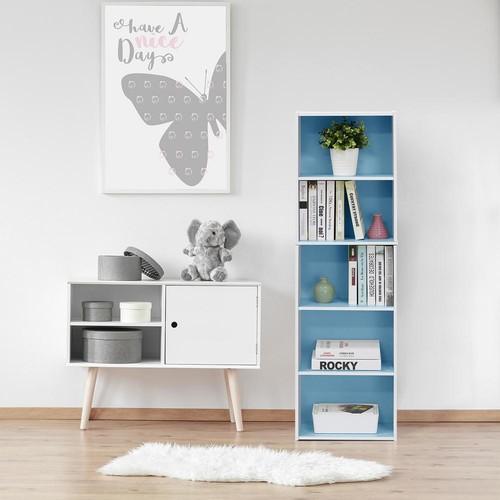 Furinno White and Light Blue 5-Tier Reversible Color Open Shelf Bookcase