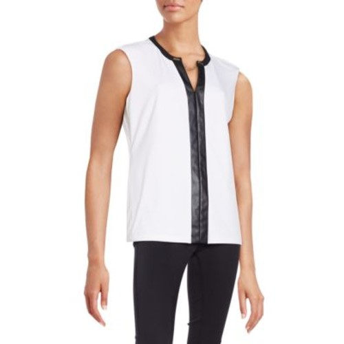 Calvin Klein - Faux Leather-Accented Top