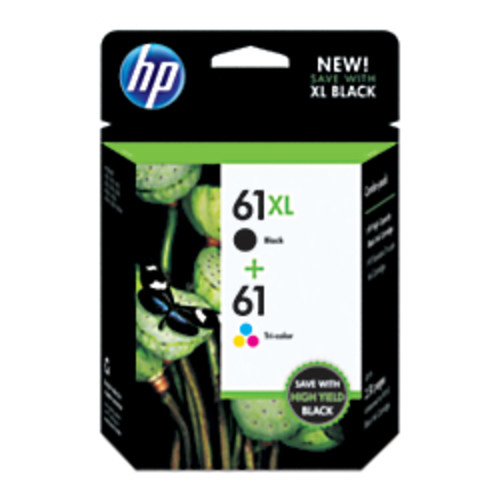 HP 61XL/61 Black/Tricolor Original Ink Cartridges (CZ138FN), Pack Of 2