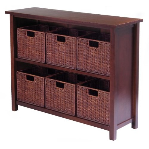 Winsome Wood Milan Wood 3 Tier Open Cabinet and 6 Rattan Baskets in Walnut Finish [antique walnut baskets]