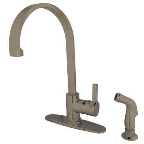 Kingston Brass Modern Single-Handle Standard Kitchen Faucet with Side Sprayer in Satin Nickel
