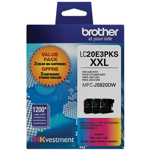 Brother INKvestment LC20E3PKS Extra High Yield Tri-Color Ink Cartridges, Pack Of 3