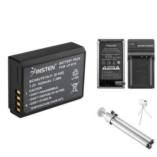 Insten LPE10 Battery+Charger+More for Canon EOS REBEL T3 1100D