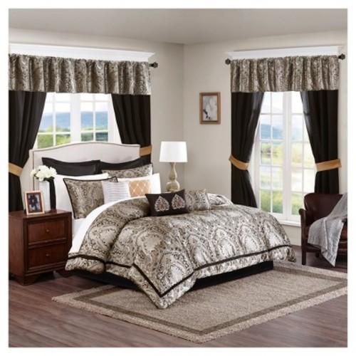 Black Tracy Jacquard Comforter Set 24pc