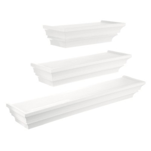 Madison Decorative Wall Ledge Shelf Set of 3 - White
