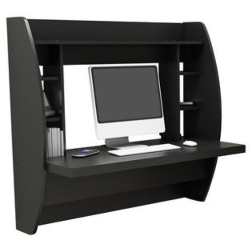 Prepac Floating Desk with Storage Finish: Black - WEHW-0200-1