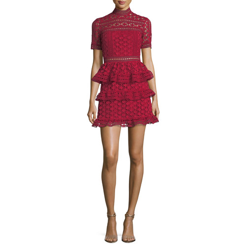 SELF-PORTRAIT High-Neck Star Lace Paneled Cocktail Dress