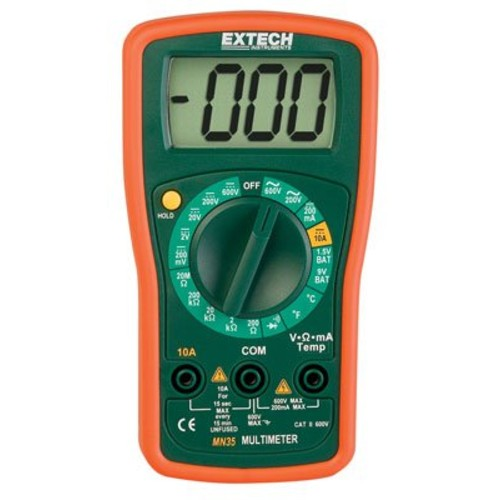 Extech MN35 Digital Mini MultiMeter [MN35 Manual Ranging Multimeter]