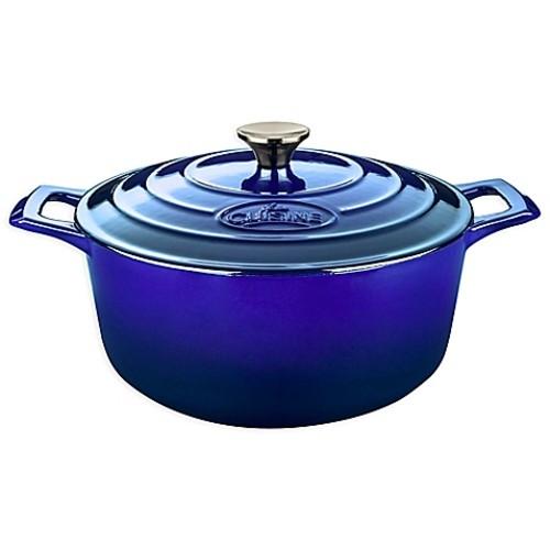 La Cuisine 5 qt. Round Cast Iron Casserole in Sapphire
