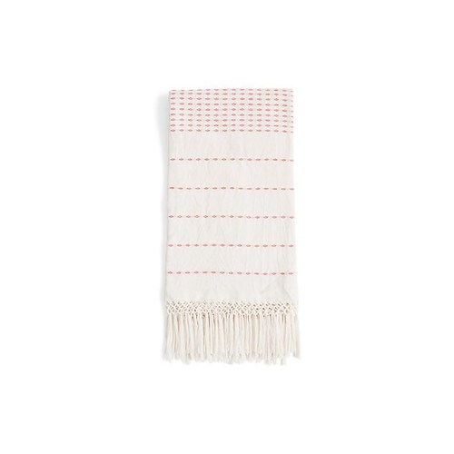 Lineas Cotton Throw, Coral/Ivory