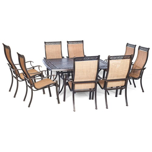 Agio Somerset 9-Piece Aluminum Square Outdoor Dining Set with Cast-Top Table