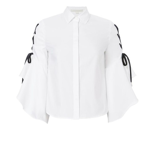 JONATHAN SIMKHAI Lace-Up Sleeve Poplin Shirt