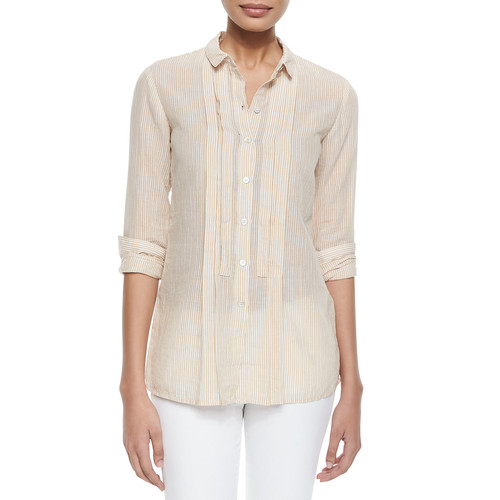 BURBERRY BRIT Striped Pleated-Front Shirt, Mustard