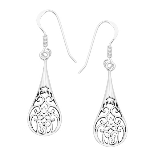 Sterling Silver Long Thin Filigree Earrings