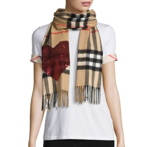 BURBERRY Sequin Heart Giant Check Cashmere Scarf