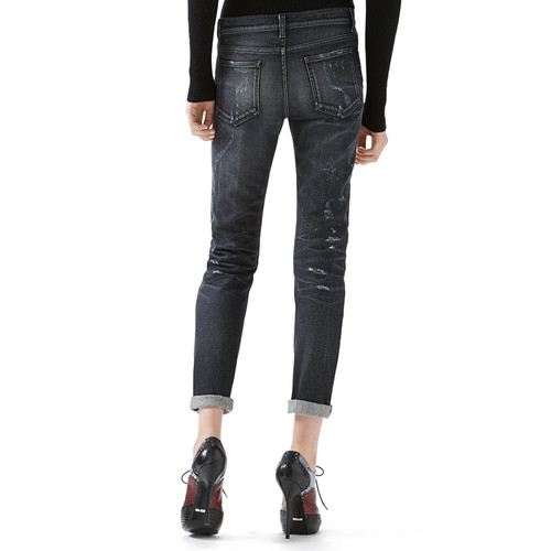 GUCCI Merino Wool Sweater With Embroidery & Stone Washed Stretch Ripped Denim Pant