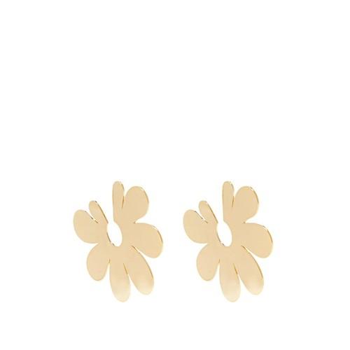 Flower large gold-plated earrings