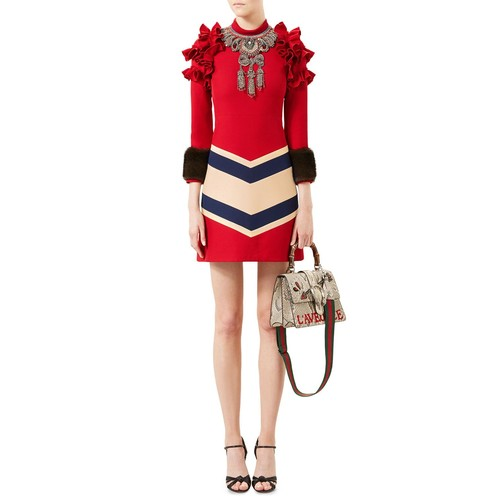 GUCCI Embroidered Wool-Silk Dress, Hibiscus Red