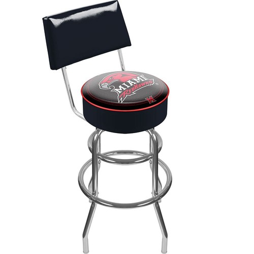 Trademark Games Miami Redhawks Padded Swivel Bar Stool with Back