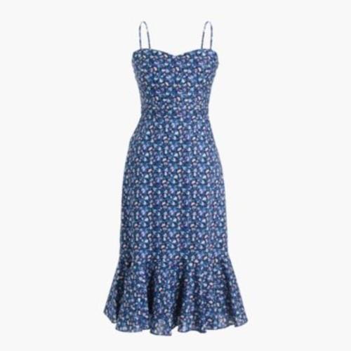 Ruffle-hem midi dress in Liberty Sarah floral