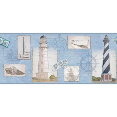 York Wallcoverings Inspired By Color Seacoast Lighthouse Wallpaper Border