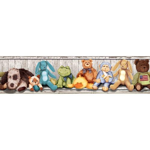 RoomMates RMK1022BCS Cuddle Buddies Peel and Stick Wall Border [Multi]