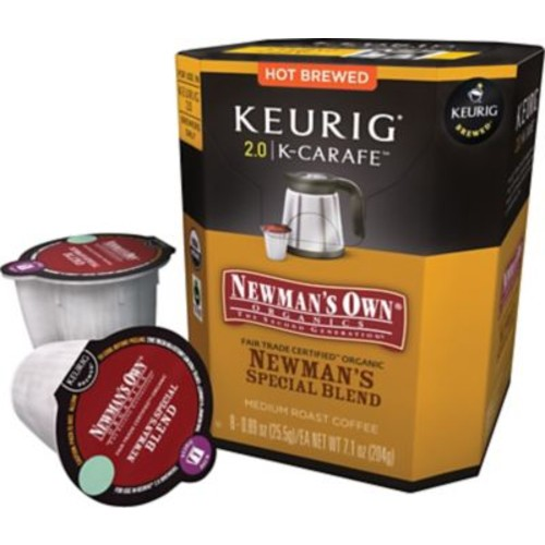 Keurig K-Carafe 2.0 Pack Newman's Own Organics Newman's Special Blend Medium Roast Coffee, 8 Count