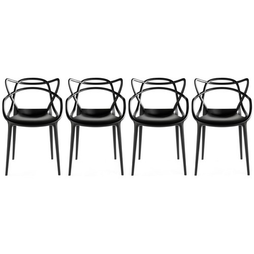 2xhome - Set of Four (4) Modern Contemporary Stackable Design Master Chair Dining Arm Chairs