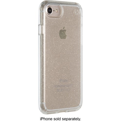 Speck - Presidio clear + glitter Case for Apple iPhone 7 - Clear/Clear with gold glitter
