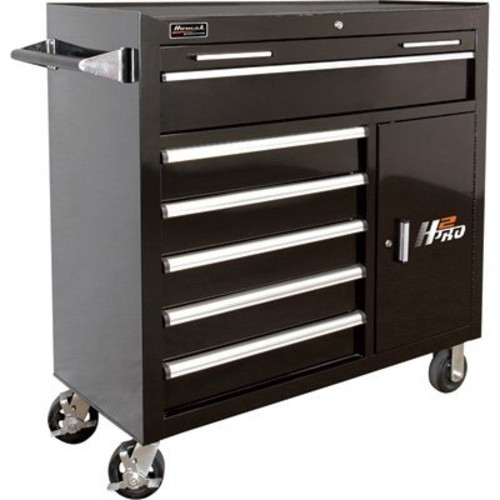Homak H2PRO 41in. 6-Drawer Roller Tool Cabinet with 2 Compartment Drawers - Black, 41 15/16in.W x 22 7/8in.D x 42 1/4in.H, Model BK04041062