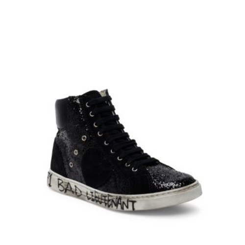 SAINT LAURENT Antibe Glitter & Suede High-Top Sneakers