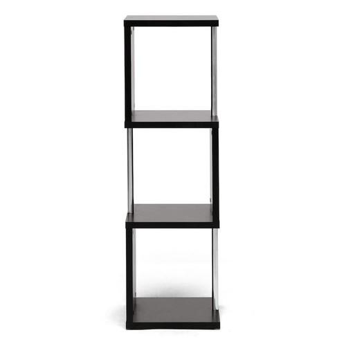 Wholesale Interiors Lindy 3-Tier Modern Display Shelf, Dark Brown