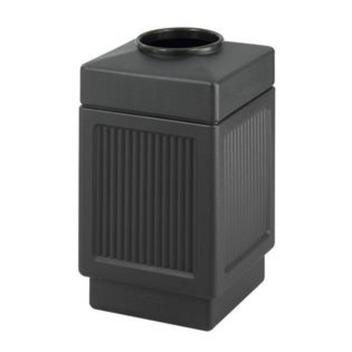 Safco Canmeleon Indoor Outdoor Trash Can, Recessed Panel, Open Top, 38 Gallon, Black