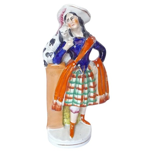 English Staffordshire Woman & Dog Figure