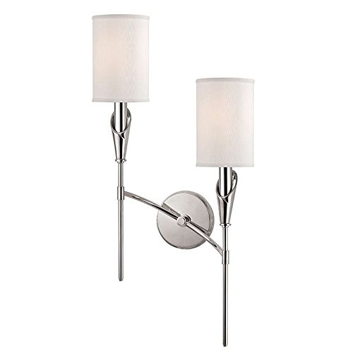 Tate 2-Light Right Wall Sconce - Polished Nickel Finish with White Faux Silk Shade [Polished Nickel Finish, Timeless Elegance]