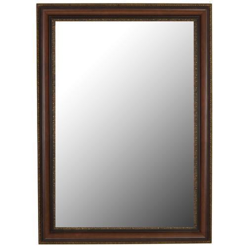 Polynesian Coco Brown Gold Trim Wall Mirror