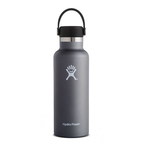 Hydro Flask - Stainless Steel Water Bottle Vacuum Insulated Standard Mouth with Flex Cap Graphite - 18 oz.